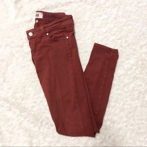 Paige Burnt Red Sierra Skinny Jeans Size 25